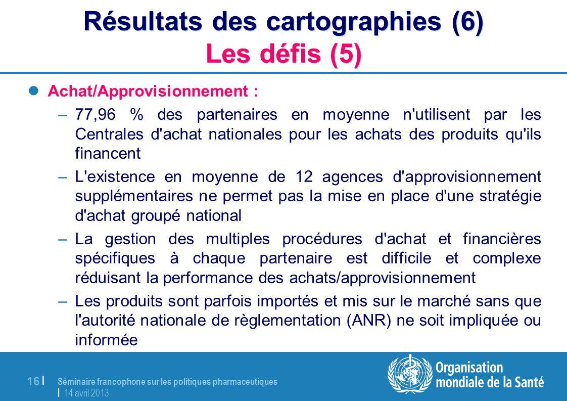 Séminaire francophone sur les politiques pharmaceutiques | 14 avril 2013 16 | Résultats des cartographies (6) Les défis (5) Achat/Approvisionnement :