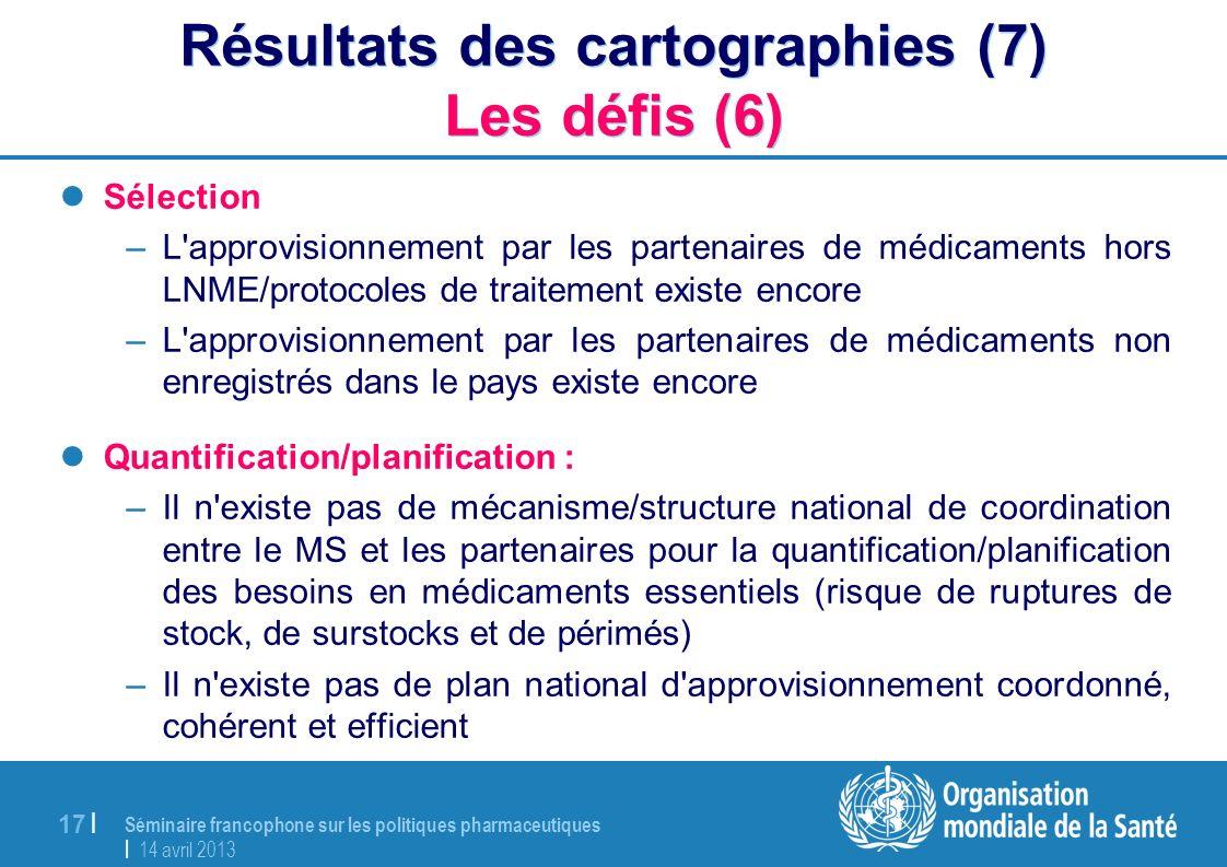Séminaire francophone sur les politiques pharmaceutiques | 14 avril 2013 17 | Résultats des cartographies (7) Les défis (6) Sélection –L'approvisionne