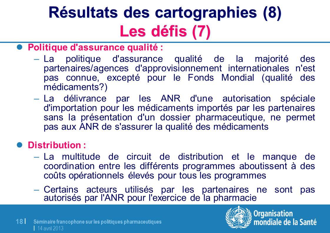 Séminaire francophone sur les politiques pharmaceutiques | 14 avril 2013 18 | Résultats des cartographies (8) Les défis (7) Politique d'assurance qual