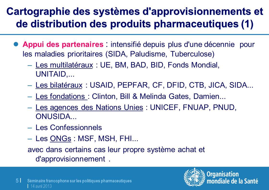 Séminaire francophone sur les politiques pharmaceutiques | 14 avril 2013 5 |5 | Cartographie des systèmes d'approvisionnements et de distribution des