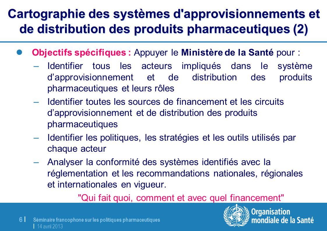Séminaire francophone sur les politiques pharmaceutiques | 14 avril 2013 6 |6 | Cartographie des systèmes d'approvisionnements et de distribution des