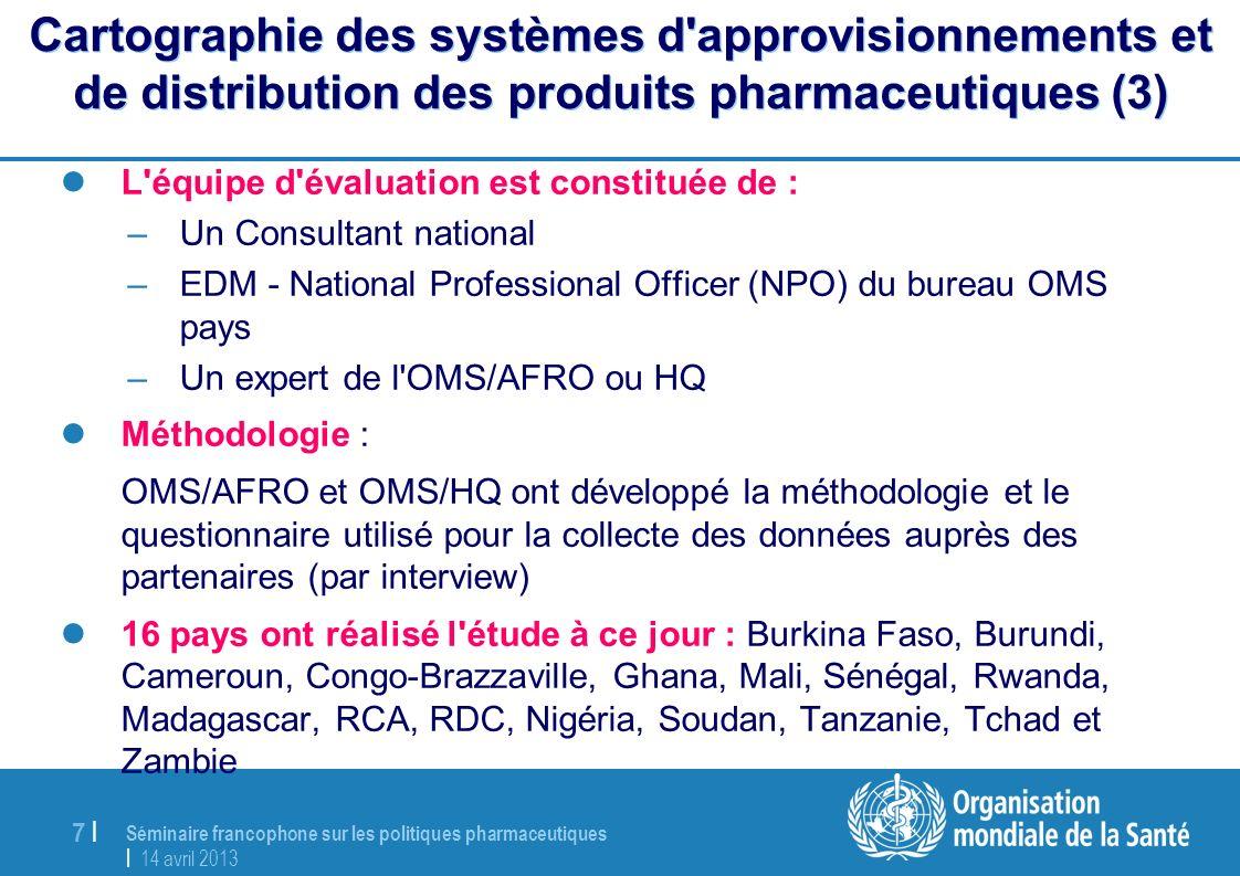 Séminaire francophone sur les politiques pharmaceutiques | 14 avril 2013 7 |7 | Cartographie des systèmes d'approvisionnements et de distribution des