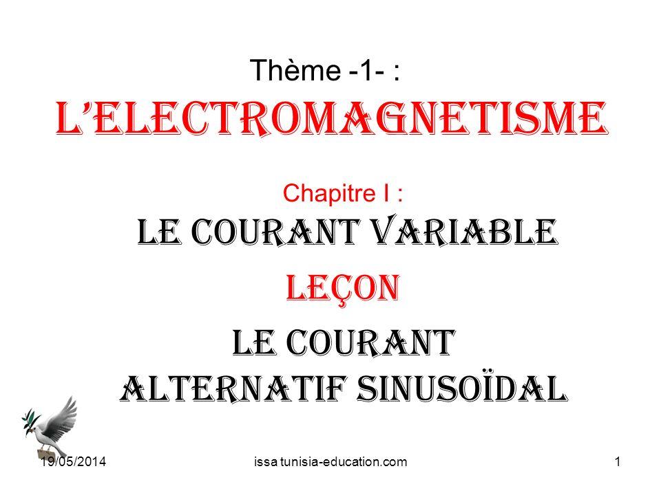Thème -1- : Lelectromagnetisme Chapitre I : LE courant variable Leçon LE courant Alternatif sinusoïdal 19/05/20141issa tunisia-education.com