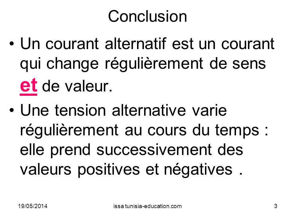 Conclusion Un courant alternatif est un courant qui change régulièrement de sens et de valeur. Une tension alternative varie régulièrement au cours du