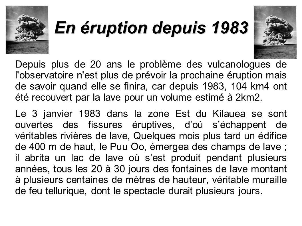 En éruption depuis 1983 Depuis plus de 20 ans le problème des vulcanologues de l observatoire n est plus de prévoir la prochaine éruption mais de savoir quand elle se finira, car depuis 1983, 104 km4 ont été recouvert par la lave pour un volume estimé à 2km2.