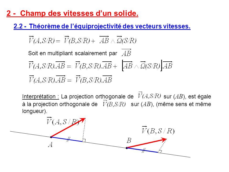2 -Champ des vitesses dun solide. 2.2 - Théorème de léquiprojectivité des vecteurs vitesses. Soit en multipliant scalairement par Interprétation : La