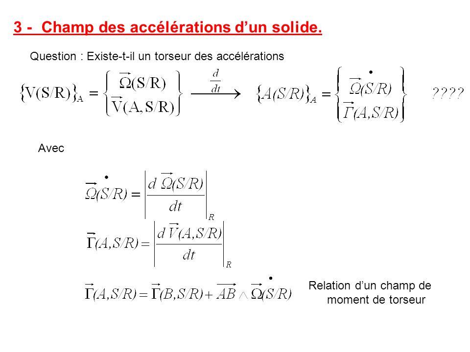 3 -Champ des accélérations dun solide. Question : Existe-t-il un torseur des accélérations Avec Relation dun champ de moment de torseur