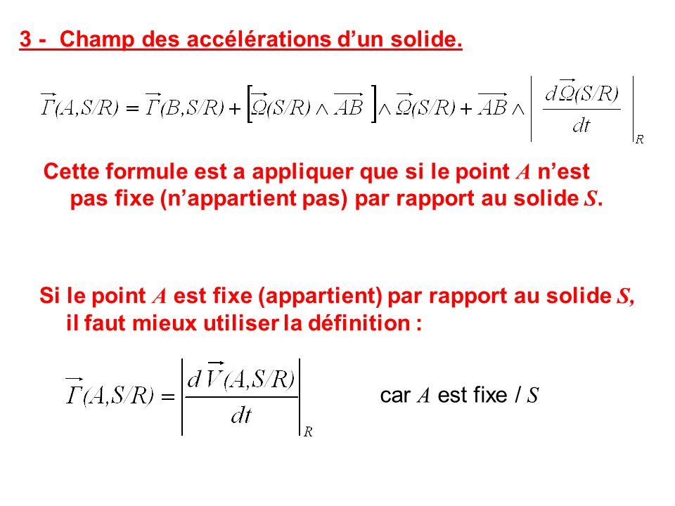 3 -Champ des accélérations dun solide. Cette formule est a appliquer que si le point A nest pas fixe (nappartient pas) par rapport au solide S. Si le