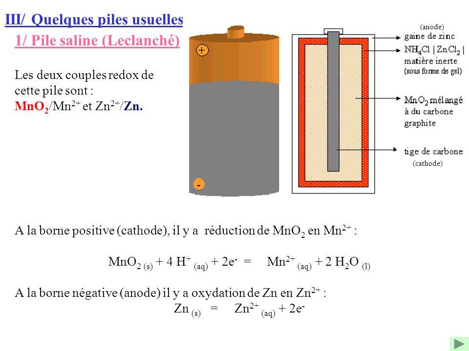 III/ Quelques piles usuelles 1/ Pile saline (Leclanché) A la borne positive (cathode), il y a réduction de MnO 2 en Mn 2+ : MnO 2 (s) + 4 H + (aq) + 2