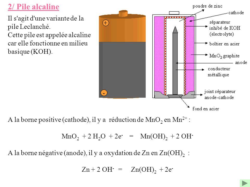 2/ Pile alcaline A la borne positive (cathode), il y a réduction de MnO 2 en Mn 2+ : MnO 2 + 2 H 2 O + 2e - = Mn(OH) 2 + 2 OH - A la borne négative (a