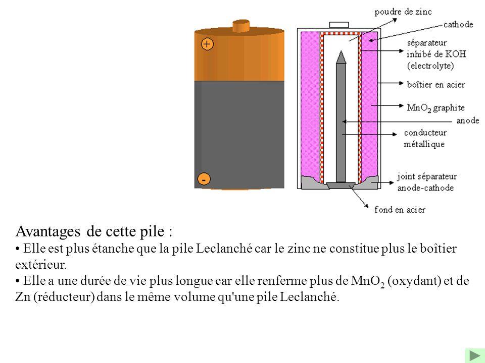 Avantages de cette pile : Elle est plus étanche que la pile Leclanché car le zinc ne constitue plus le boîtier extérieur. Elle a une durée de vie plus