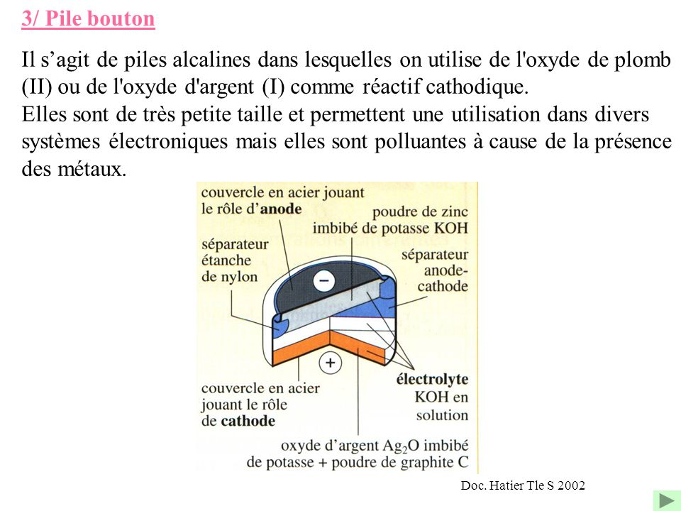 3/ Pile bouton Il sagit de piles alcalines dans lesquelles on utilise de l'oxyde de plomb (II) ou de l'oxyde d'argent (I) comme réactif cathodique. El