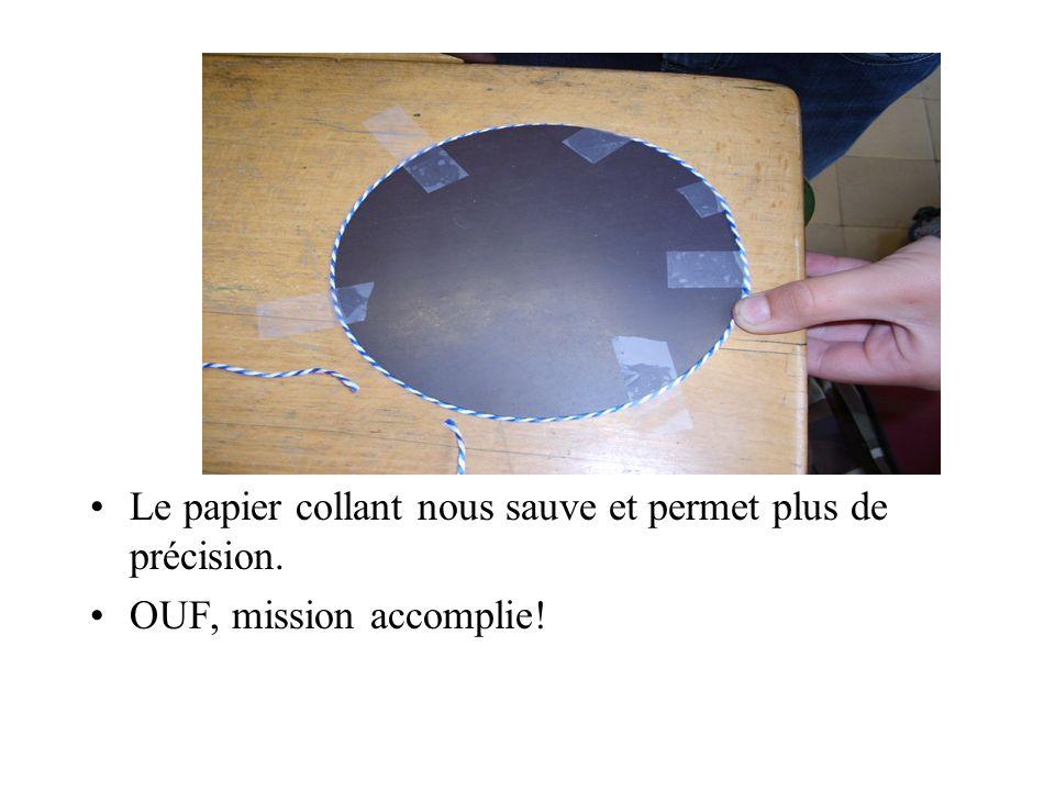 Le papier collant nous sauve et permet plus de précision. OUF, mission accomplie!