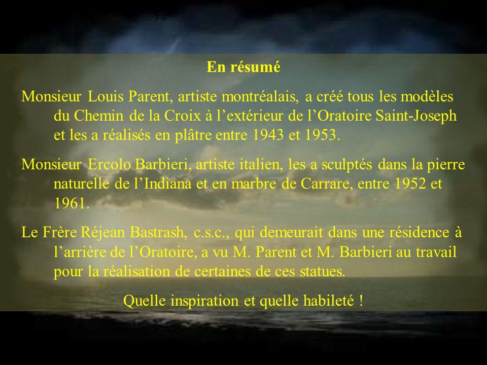 En résumé Monsieur Louis Parent, artiste montréalais, a créé tous les modèles du Chemin de la Croix à lextérieur de lOratoire Saint-Joseph et les a réalisés en plâtre entre 1943 et 1953.