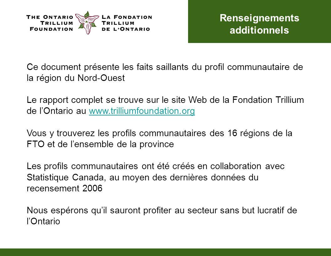 Renseignements additionnels Ce document présente les faits saillants du profil communautaire de la région du Nord-Ouest Le rapport complet se trouve s