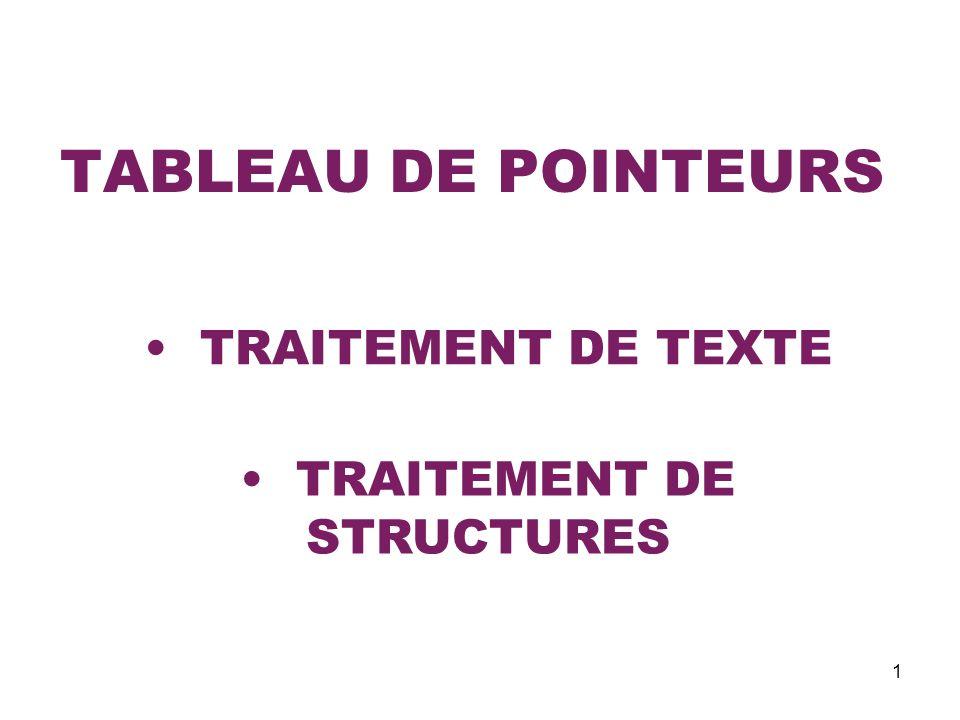 1 TABLEAU DE POINTEURS TRAITEMENT DE TEXTE TRAITEMENT DE STRUCTURES