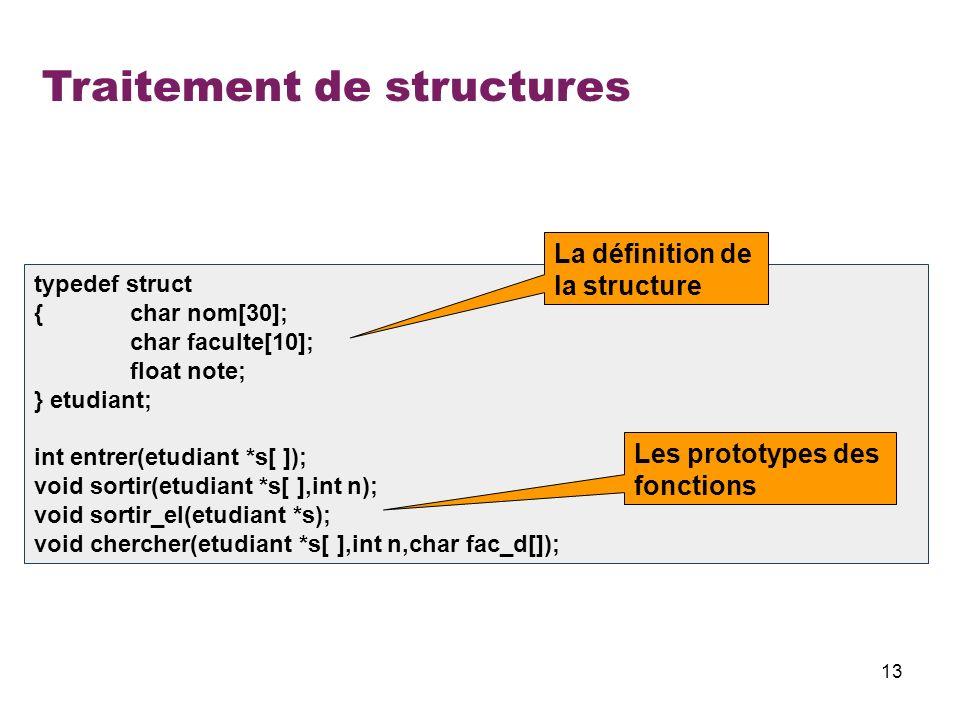 13 Traitement de structures typedef struct {char nom[30]; char faculte[10]; float note; } etudiant; int entrer(etudiant *s[ ]); void sortir(etudiant *
