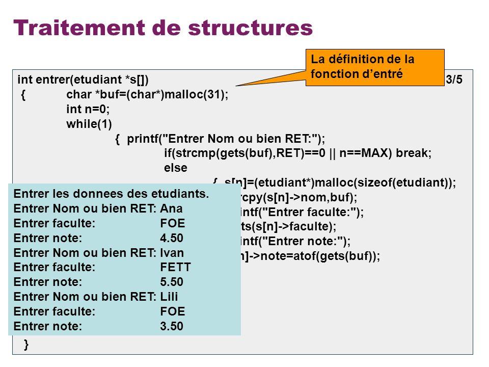 16 Traitement de structures int entrer(etudiant *s[]) 3/5 { char *buf=(char*)malloc(31); int n=0; while(1) { printf(