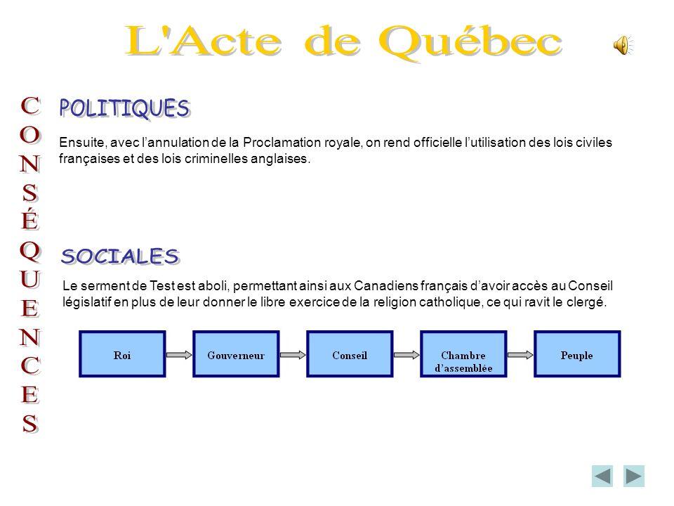 Ensuite, avec lannulation de la Proclamation royale, on rend officielle lutilisation des lois civiles françaises et des lois criminelles anglaises.