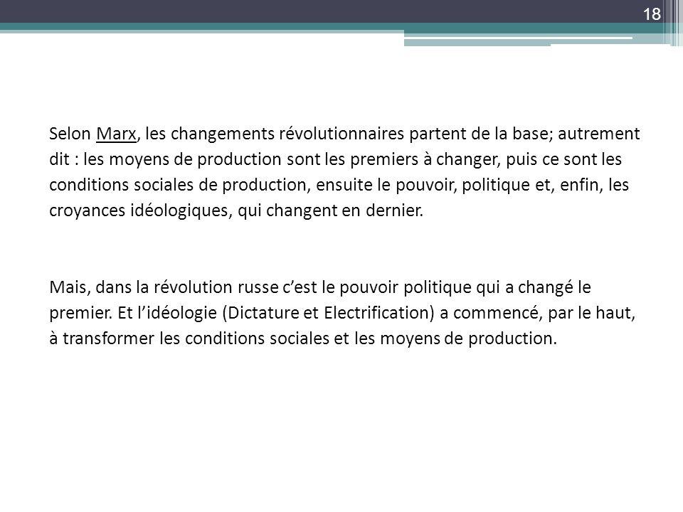 Selon Marx, les changements révolutionnaires partent de la base; autrement dit : les moyens de production sont les premiers à changer, puis ce sont le