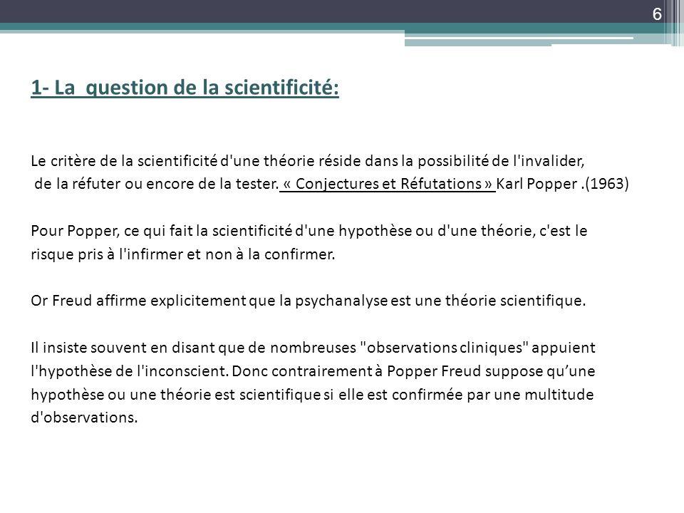 1- La question de la scientificité: Le critère de la scientificité d'une théorie réside dans la possibilité de l'invalider, de la réfuter ou encore de