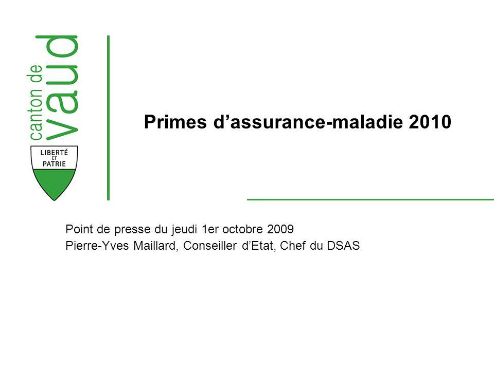 Point de presse du jeudi 1er octobre 2009 Pierre-Yves Maillard, Conseiller dEtat, Chef du DSAS Primes dassurance-maladie 2010