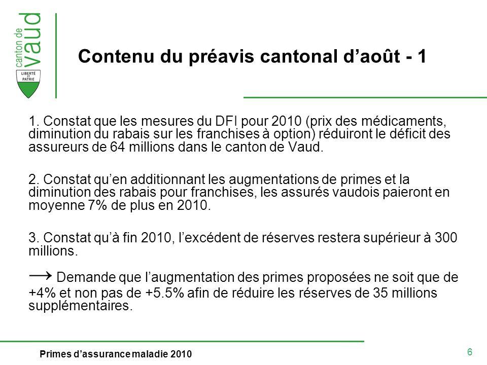 6 Primes dassurance maladie 2010 Contenu du préavis cantonal daoût - 1 1.