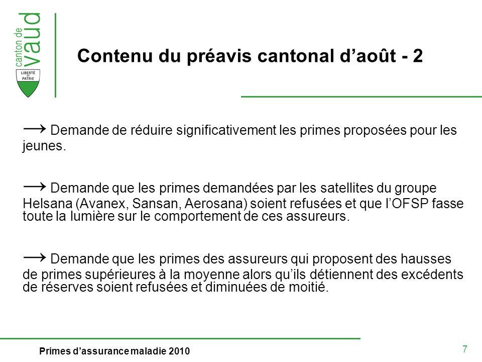 7 Primes dassurance maladie 2010 Contenu du préavis cantonal daoût - 2 Demande de réduire significativement les primes proposées pour les jeunes.