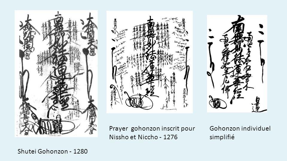 Shutei Gohonzon - 1280 Prayer gohonzon inscrit pour Nissho et Niccho - 1276 Gohonzon individuel simplifié