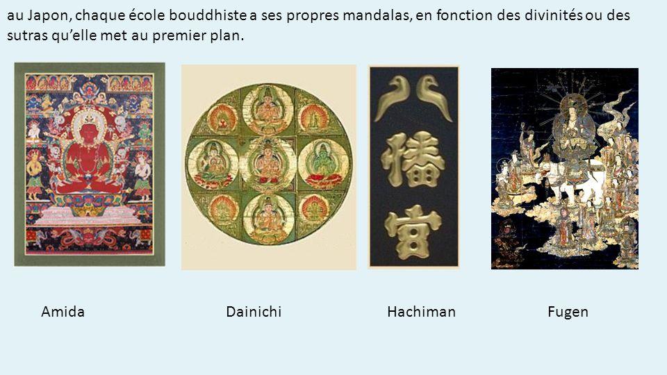 au Japon, chaque école bouddhiste a ses propres mandalas, en fonction des divinités ou des sutras quelle met au premier plan.