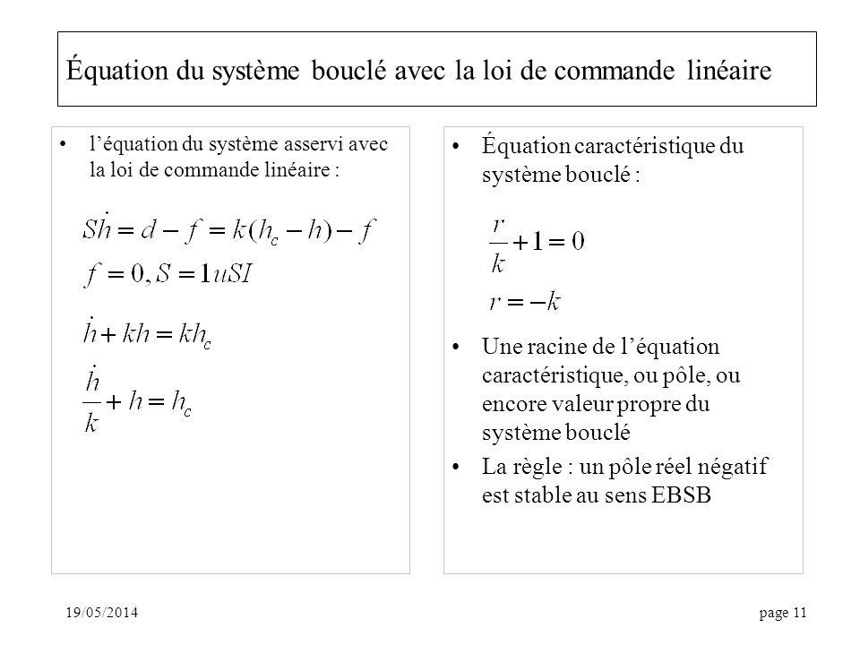 19/05/2014page 11 Équation du système bouclé avec la loi de commande linéaire léquation du système asservi avec la loi de commande linéaire : Équation caractéristique du système bouclé : Une racine de léquation caractéristique, ou pôle, ou encore valeur propre du système bouclé La règle : un pôle réel négatif est stable au sens EBSB