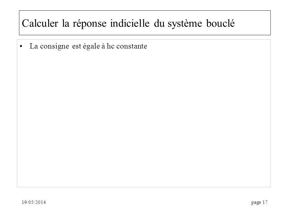 19/05/2014page 17 Calculer la réponse indicielle du système bouclé La consigne est égale à hc constante