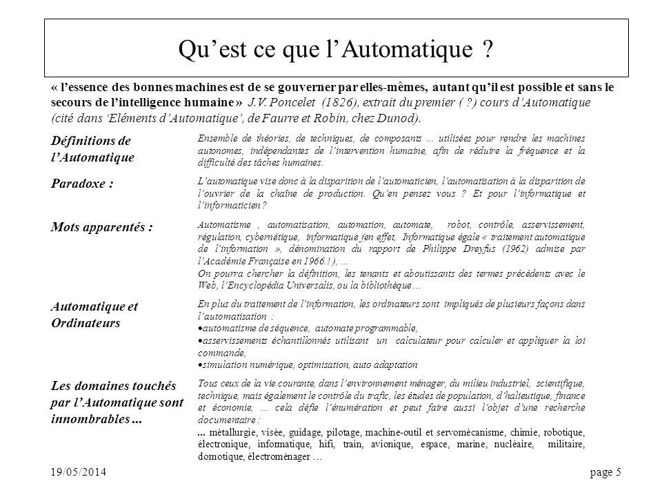 19/05/2014page 5 Quest ce que lAutomatique .