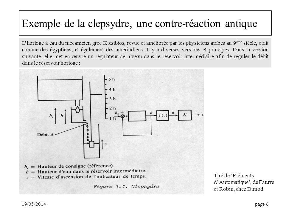 19/05/2014page 6 Exemple de la clepsydre, une contre-réaction antique Lhorloge à eau du mécanicien grec Ktésibios, revue et améliorée par les physiciens arabes au 9 ème siècle, était connue des égyptiens, et également des amérindiens.