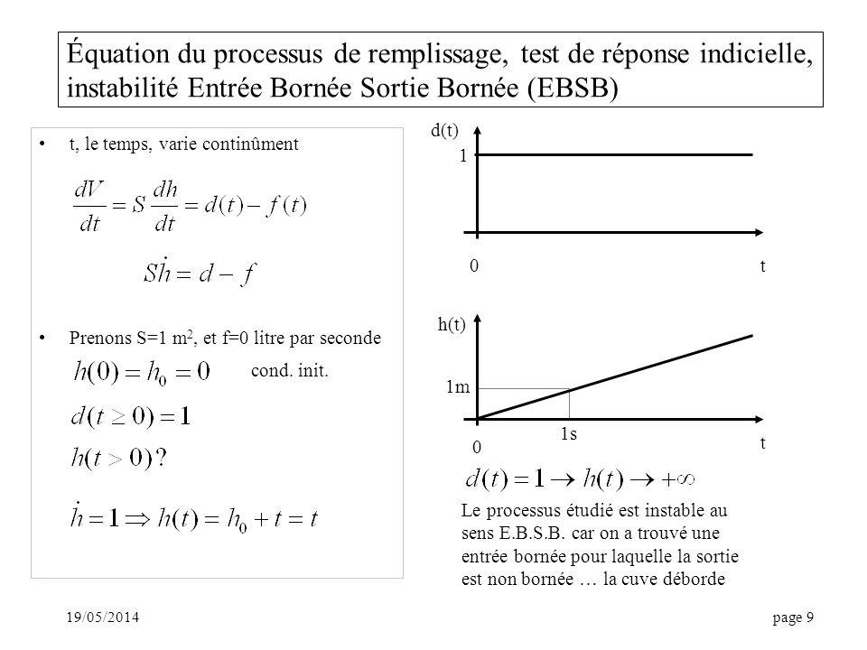 19/05/2014page 9 Équation du processus de remplissage, test de réponse indicielle, instabilité Entrée Bornée Sortie Bornée (EBSB) t, le temps, varie continûment Prenons S=1 m 2, et f=0 litre par seconde cond.