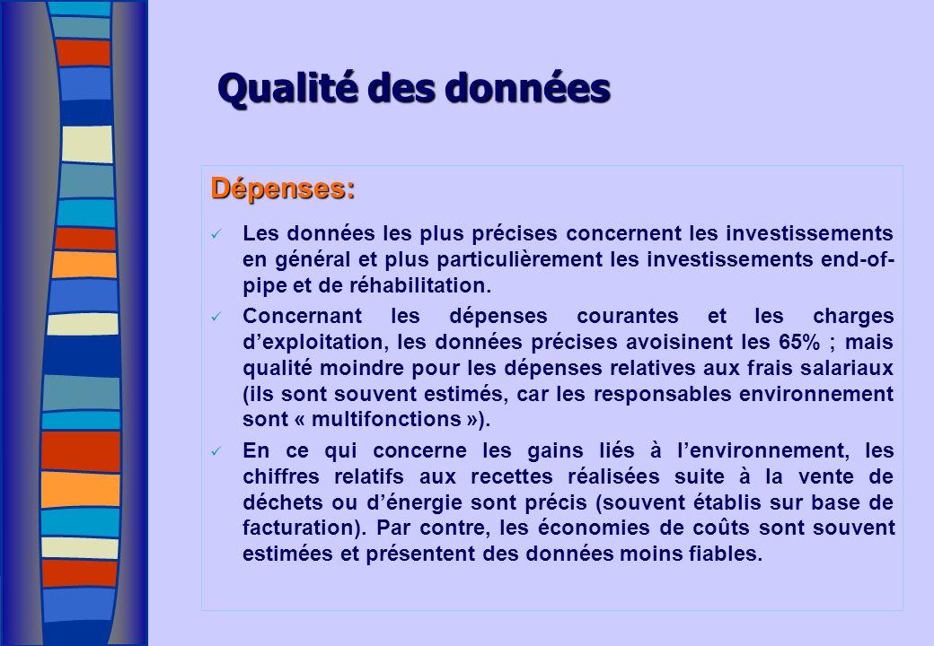 Qualité des données Dépenses: Les données les plus précises concernent les investissements en général et plus particulièrement les investissements end-of- pipe et de réhabilitation.