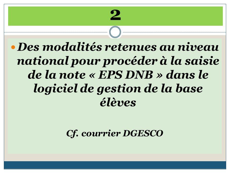 2 Des modalités retenues au niveau national pour procéder à la saisie de la note « EPS DNB » dans le logiciel de gestion de la base élèves Cf.
