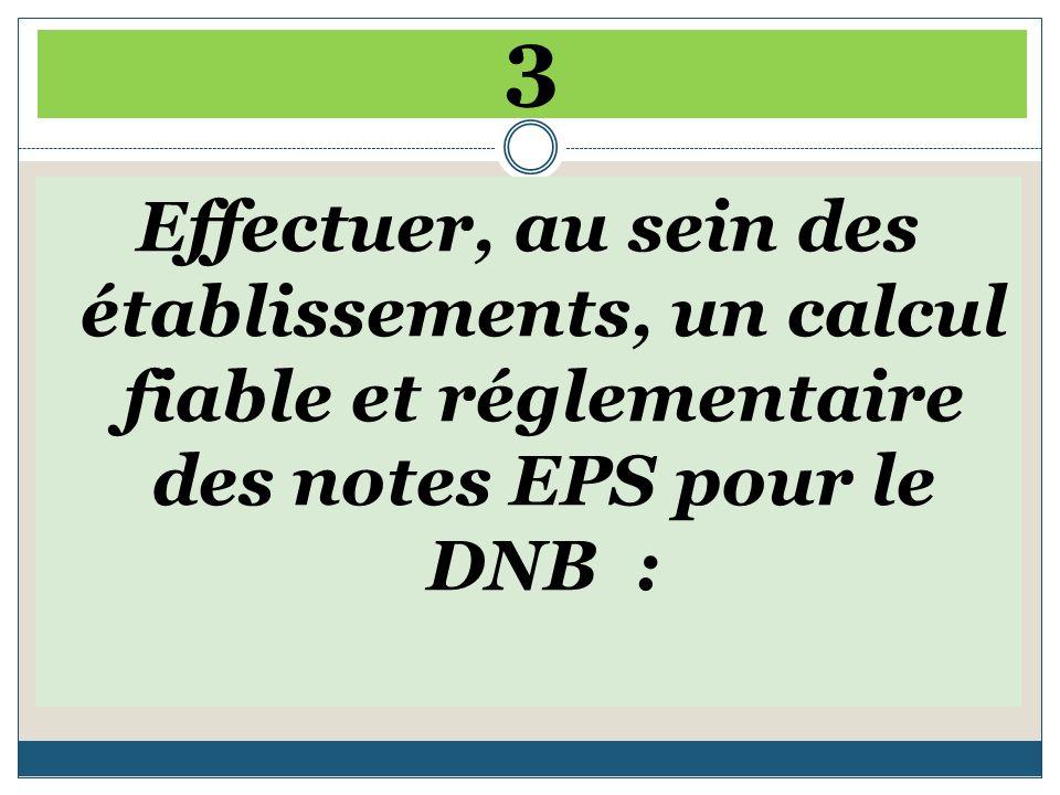 3 Effectuer, au sein des établissements, un calcul fiable et réglementaire des notes EPS pour le DNB :