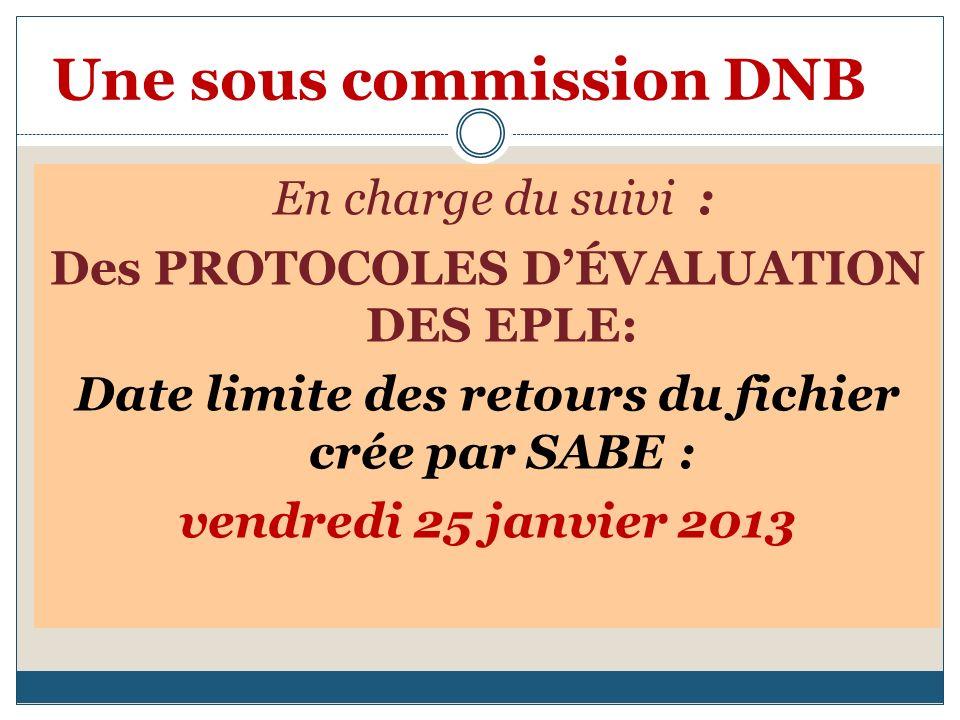 Une sous commission DNB En charge du suivi : Des PROTOCOLES DÉVALUATION DES EPLE: Date limite des retours du fichier crée par SABE : vendredi 25 janvier 2013