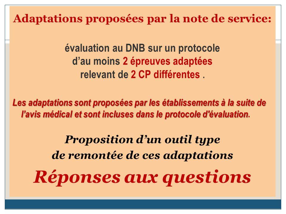 Adaptations proposées par la note de service: évaluation au DNB sur un protocole dau moins 2 épreuves adaptées relevant de 2 CP différentes.