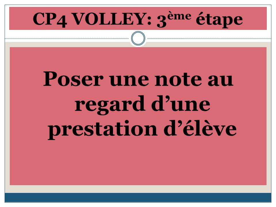 CP4 VOLLEY: 3 ème étape Poser une note au regard dune prestation délève