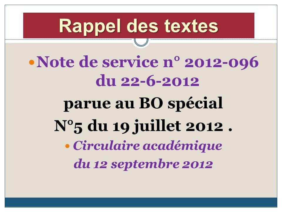 Note de service n° 2012-096 du 22-6-2012 parue au BO spécial N°5 du 19 juillet 2012.
