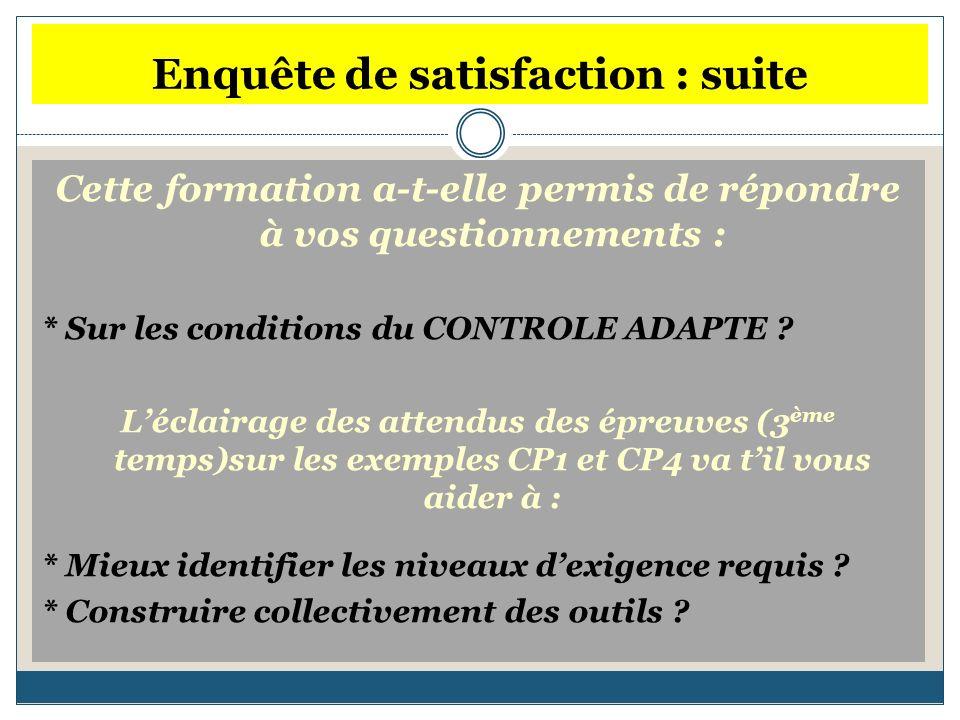 Enquête de satisfaction : suite Cette formation a-t-elle permis de répondre à vos questionnements : * Sur les conditions du CONTROLE ADAPTE .