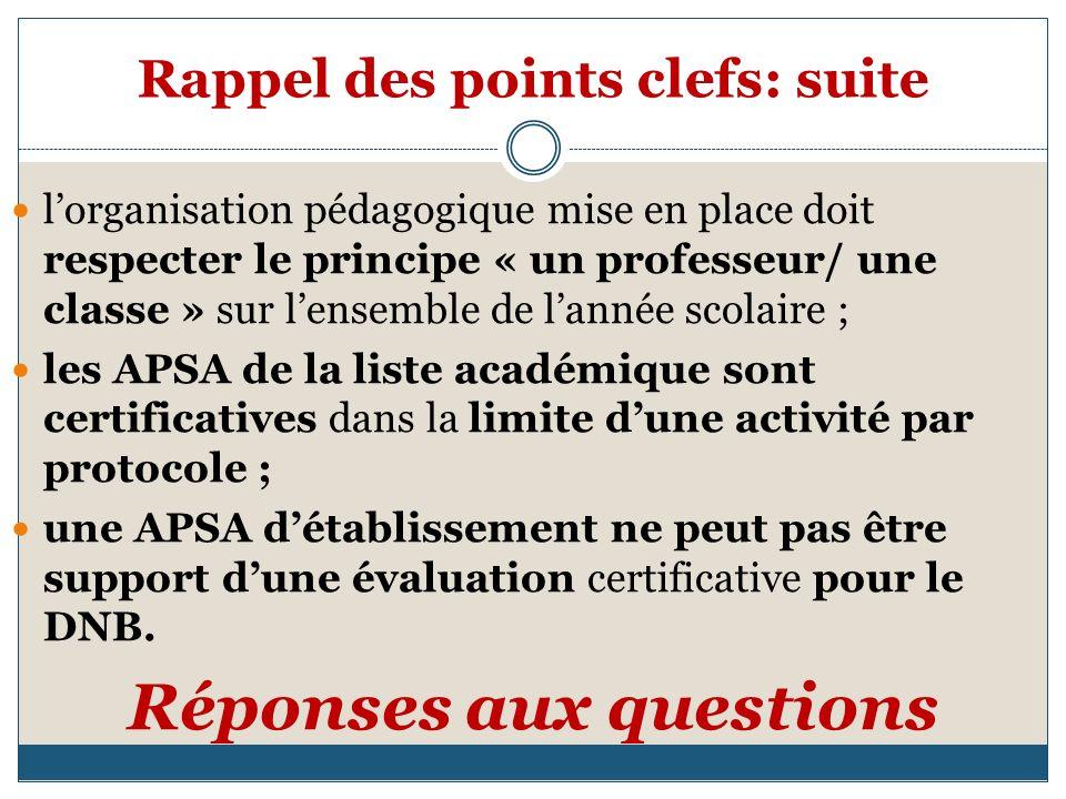 Rappel des points clefs: suite lorganisation pédagogique mise en place doit respecter le principe « un professeur/ une classe » sur lensemble de lannée scolaire ; les APSA de la liste académique sont certificatives dans la limite dune activité par protocole ; une APSA détablissement ne peut pas être support dune évaluation certificative pour le DNB.