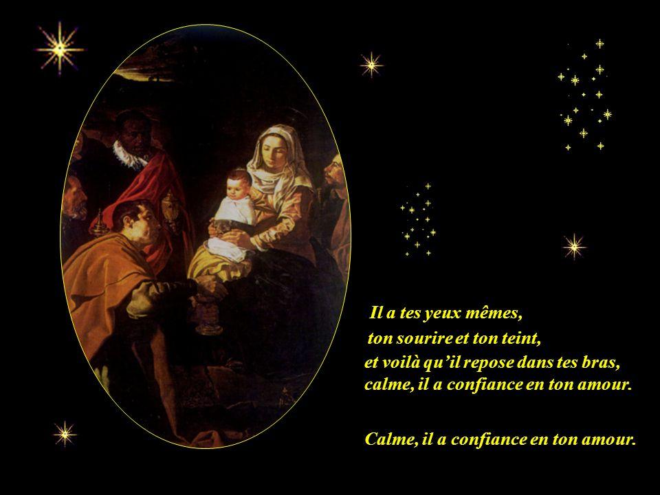 Dis-moi: que ressens-tu Marie? Et à qui tu as donné ton coeur. Tu tiens Dieu dans tes bras, celui que tu as tant attendu, et à qui tu as donné ton coe