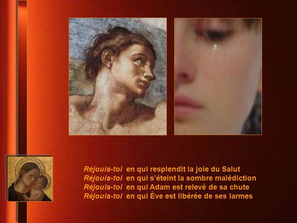 Un ange, parmi ceux qui se tienent devant la gloire du Seigeur, fut envoyé dire à la Mère de Dieu : Réjouis-toi ! Il incline les cieux et descend, Cel