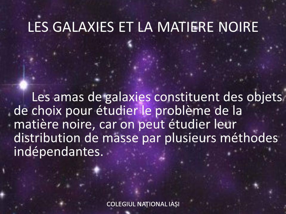 LES GALAXIES ET LA MATIERE NOIRE Les amas de galaxies constituent des objets de choix pour étudier le problème de la matière noire, car on peut étudie