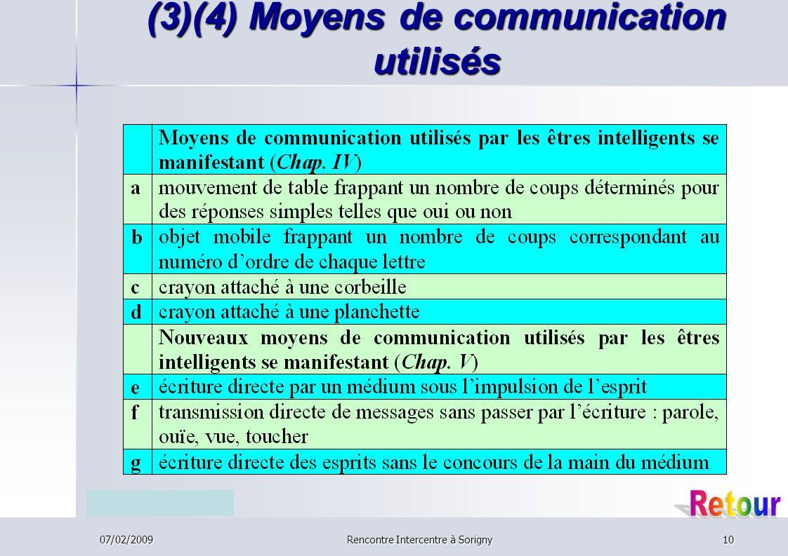 07/02/2009Rencontre Intercentre à Sorigny10 (3)(4) Moyens de communication utilisés