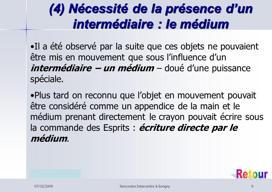 07/02/2009Rencontre Intercentre à Sorigny9 (4) Nécessité de la présence dun intermédiaire : le médium Il a été observé par la suite que ces objets ne pouvaient être mis en mouvement que sous linfluence dun intermédiaire – un médium – doué dune puissance spéciale.
