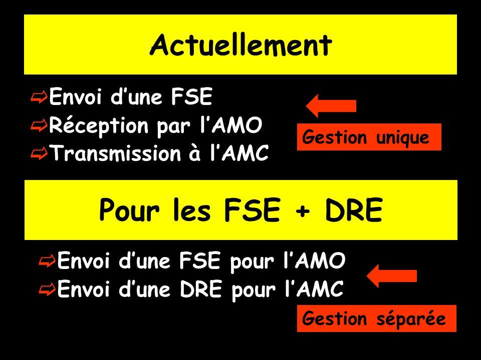 Actuellement Envoi dune FSE Réception par lAMO Transmission à lAMC Pour les FSE + DRE Envoi dune FSE pour lAMO Envoi dune DRE pour lAMC Gestion unique